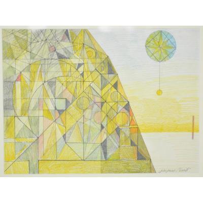 Jacques Maret, Dessin Abstrait Aux Crayons De Couleur.