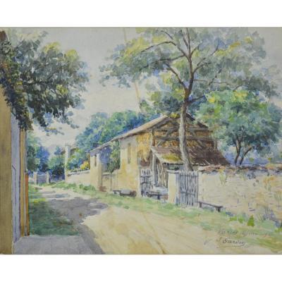 J. Garden, Aquarelle d'Un Paysage Du Village De Varces, 1919