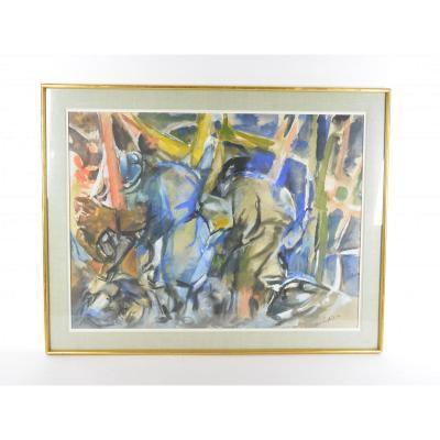 Jean-claude Latil (1932-2007), Gouache Sur Papier