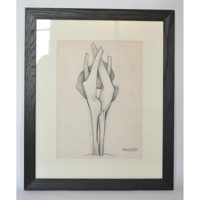 Roger Desserprit, Dessin Préparatoire Pour Sculpture, N° 2