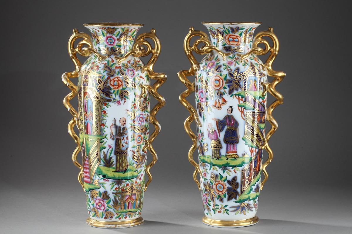 Bayeux: Pair Of Porcelain Vases. 19th Century