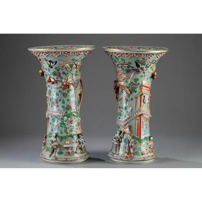 Paire De Vases Cornets Porcelaine De Bayeux 19ème Siècle