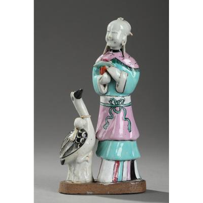 Chine : Figurine En  Biscuit, Fin De La Période Jiaqing Circa 1820