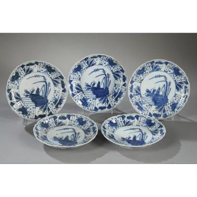 Cinq Coupelles En Porcelaine Du Japon Deuxième Moitié Du 17ème Siècle