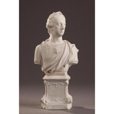 Buste De Louis XV En Porcelaine De Mennecy 18ème Siècle