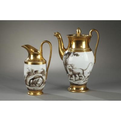 Manufacture De Halley (paris) Coffee Pot And Milk Pot 19th Century