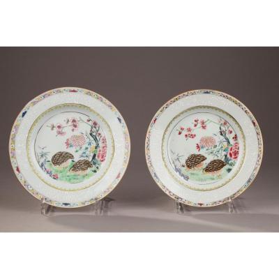 Deux Assiettes Décorées De Cailles En émaux De La Famille Rose Chine 18ème Siècle