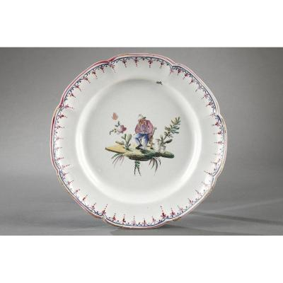 Plate In Faience Of Sceaux Late 18th Century