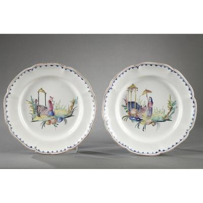 Pair Of Plates Faience Of Sceaux  End Of The 18th Century