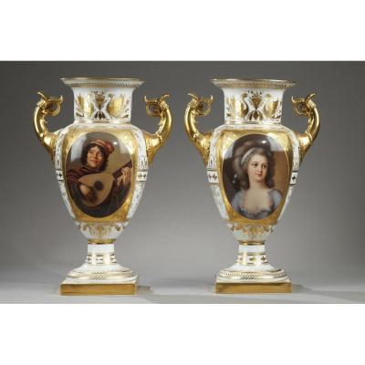 VOLKSTEDT en THURINGE :  Paire De Vases En Porcelaine Fin Du 19ème Siècle