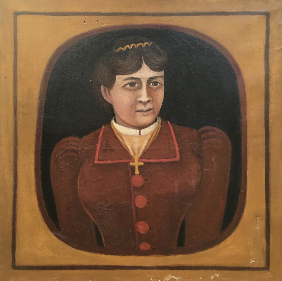 French School Of The XIXth Century. Portrait Of Woman In Red Dress. Oil On Canvas. Naive Art.