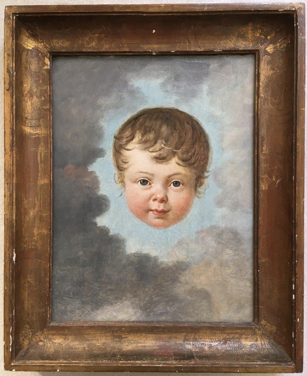Ecole Française Vers 1800. Enfant Dans Les Nuées. Huile Sur Toile.