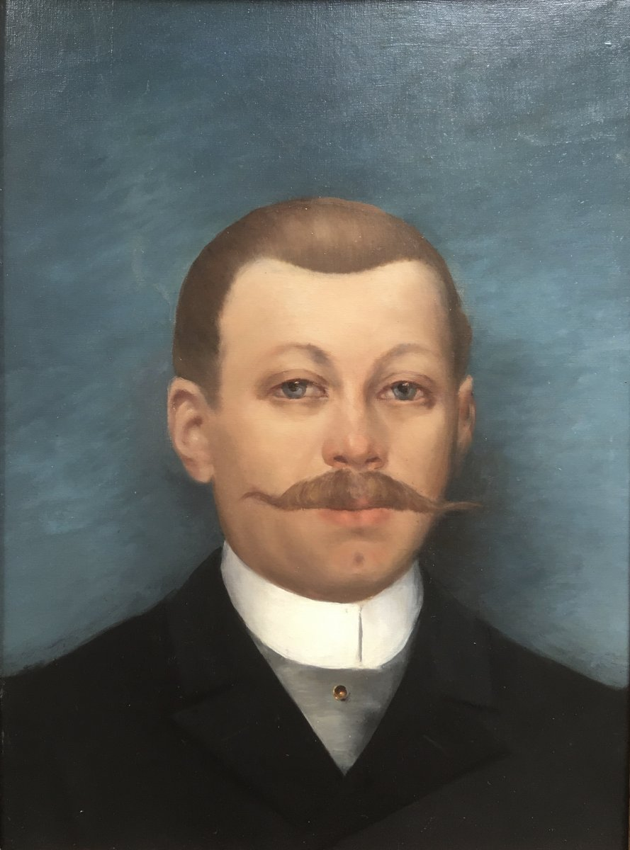 French School From The End Of The XIXth Century. Portrait Of A Man With A Proud Mustache. Oil.