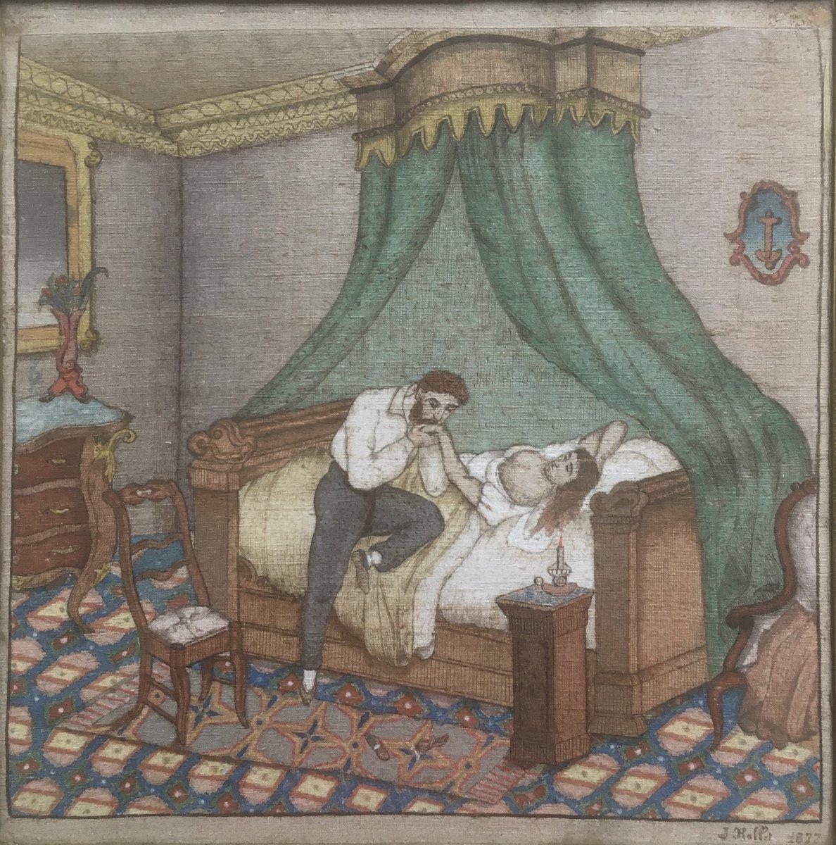 J. Rollet (Actif Fin XIXe). La Visite Nocturne, 1877. Huile Sur Toile De Jute Brodée.