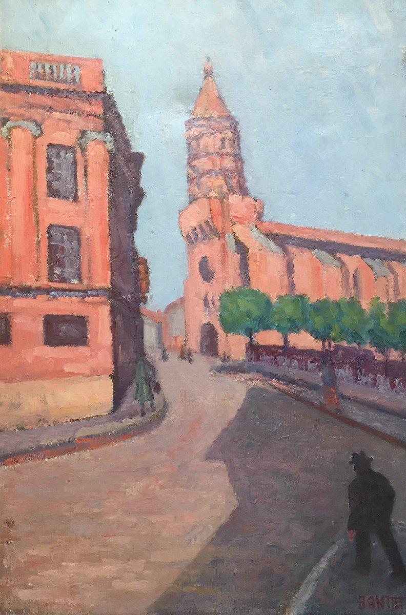 Joseph Bontet (Actif Vers 1930). Vue Animée De l'Eglise Saint Jacques, Montauban. Grande Huile.