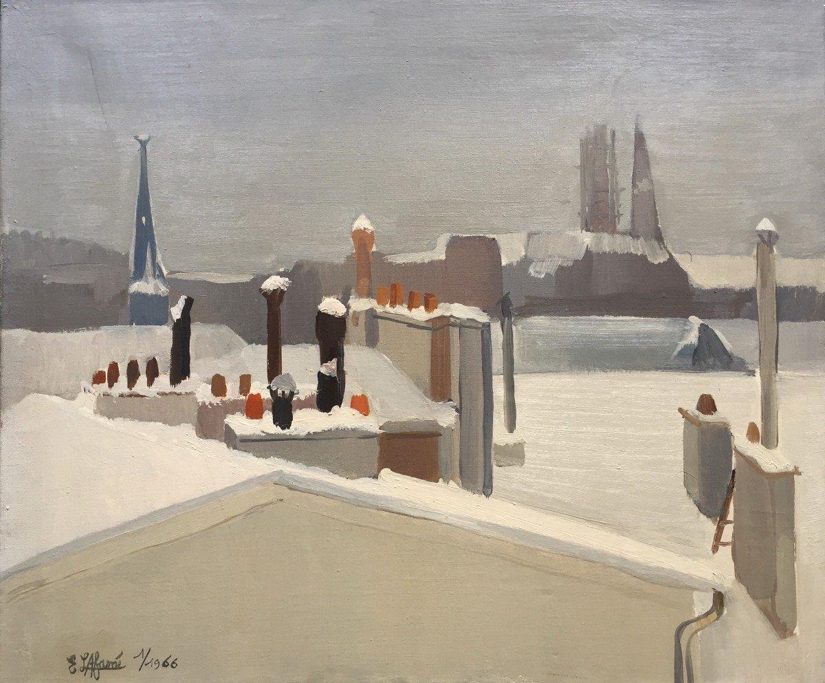 Emile Lafamé (1934-2017). Les Toits (de Paris) Sous La Neige, 1966. Huile Sur Toile, Signée.