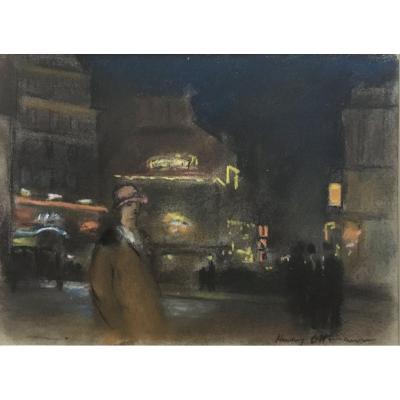 Henri Ottmann (1877-1927). Pigalle La Nuit. Pastel, Signé En Bas à Droite.