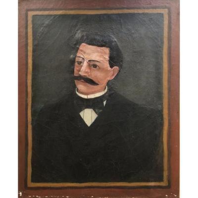 French School Of The XIXth Century. Portrait Of Man With Mustache. Oil On Canvas. Naive Art.