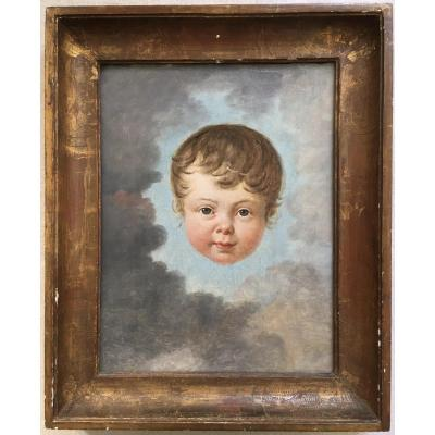 French School Around 1800. Child In The Clouds. Oil On Canvas.