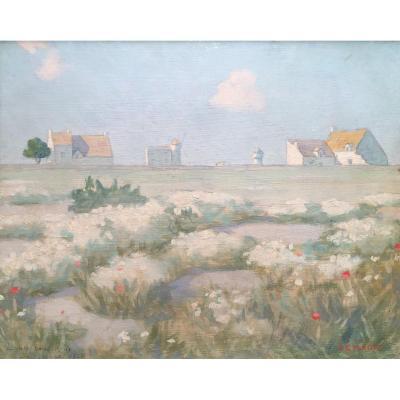 Louis Cylkow (1877-1934). Paysage En Bretagne, 1924. Huile Sur Carton, Signé Et Daté.