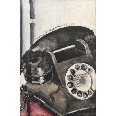 Marie Thérèse Bourrat (Née En 1938). Le Téléphone, 1971. Huile Sur Toile, Signée.