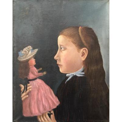 Michelet (XIXe-XXe). Fillette à La Poupée, 1892. Huile Sur Toile, Signée Et Datée. Encadrée.