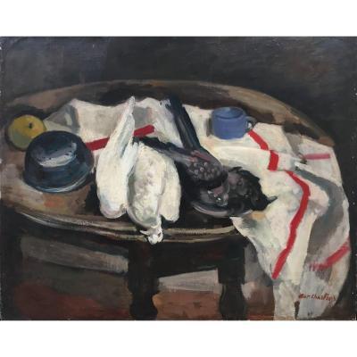 Antoine Chartres (1903-1968). Les Oiseaux. Huile Sur Toile, Signée En Bas à Droite.