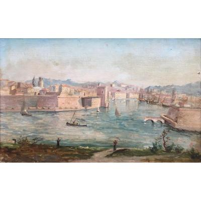 French School Of The XIXth Century. Entrance To Port Of Marseille. Oil On Canvas, Signed.