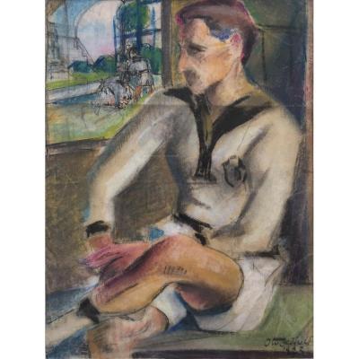 Otis Oldfield (1890-1969). Rugbyman, 1923. Technique Mixte Sur Papier, Signée Et Datée. Cadre.