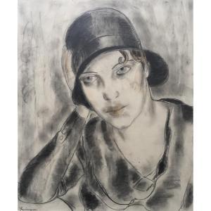 Zygmunt Szpingier (1901-1960). Jeune Femme Au Chapeau. Beau Dessin, Signé. Encadré.