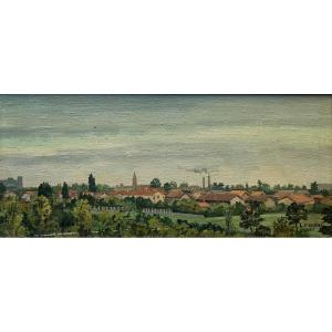 Lucien Cadène (1887-1958). Paysage De Montauban, 1945. Huile Sur Toile, Signée Et Datée.
