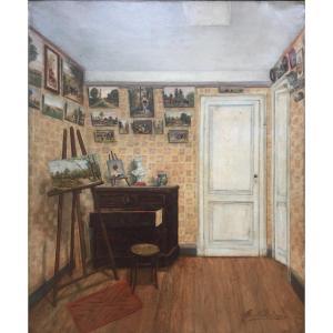 Marie Villedieu (Active vers 1900). L\'Intérieur. Huile Sur Toile, Signée Et Encadrée.