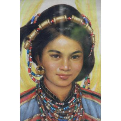 Young Philippine By Pedro Amorsolo (1926-)