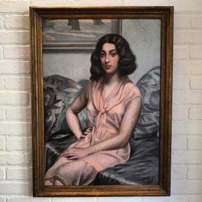 Portrait de femme assise par Ignace François Victor Bibal