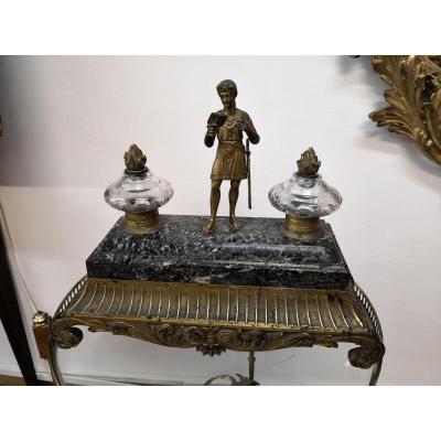 Encrier bronze doré époque empire