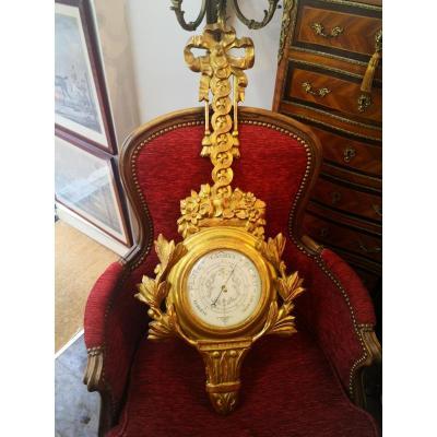Golden Wood Barometer