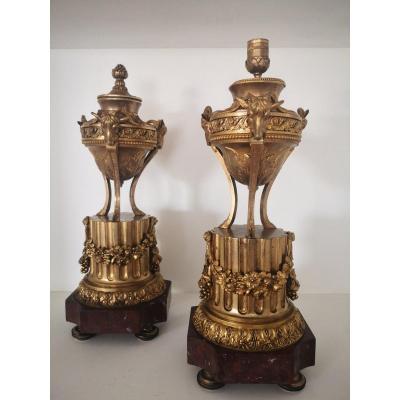 Grande Paire De Cassolettes Réversibles Bronze Doré