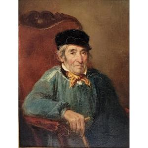 French School Of The XIXth Century - Portrait Of A Man With A Cane
