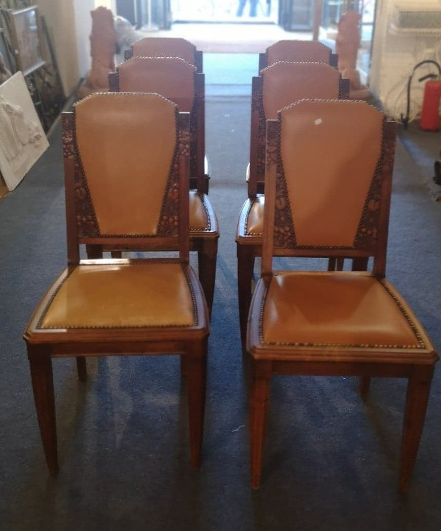 Suite Of Six Chairs - Art Deco - Around 1940.