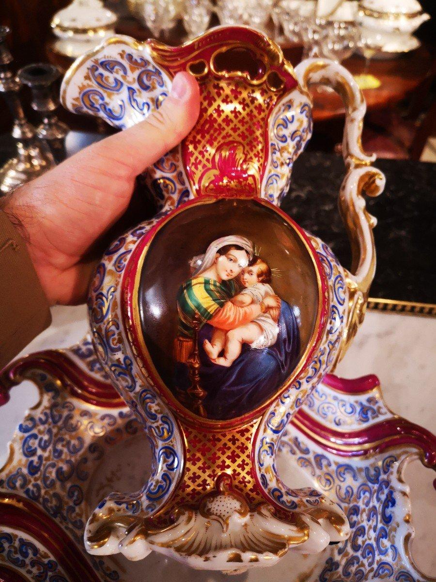 Aiguière Et Son Bassin-porcelaine De Paris-vierge à La Chaise-xixe S. -photo-2