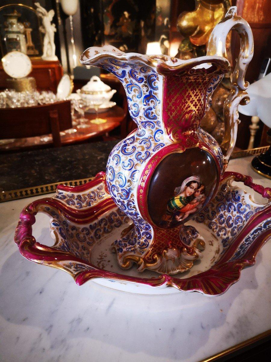 Aiguière Et Son Bassin-porcelaine De Paris-vierge à La Chaise-xixe S. -photo-4