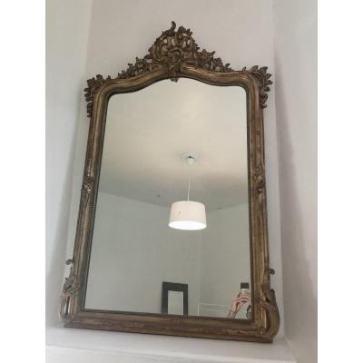 Miroir En Bois Doré- Louis XV- XIX E S.