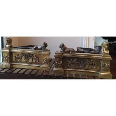 Paire De Chenets- Bronze Et Fer Forgé- Empire -XIX E.