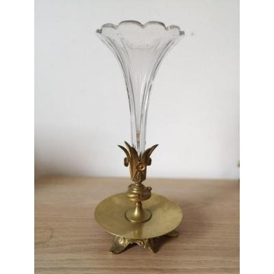 Soliflore- Bronze Doré Et Cristal- Vers 1900.