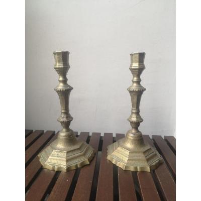 Pair Of Candlesticks- Regency-bronze Gilt- XVIII E S.