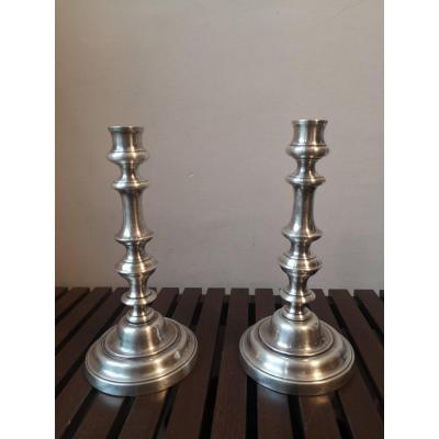 Pair Of Candlesticks- Silver Bronze- Around 1900.