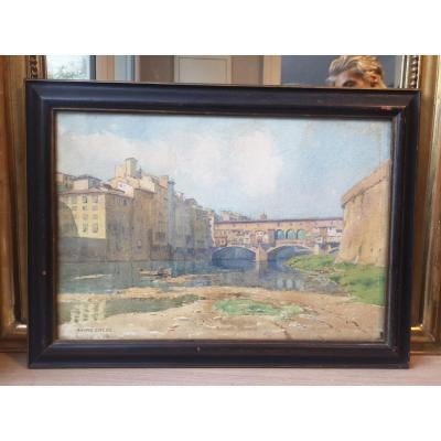 Drawing - Watercolor- André Engel- Ponte Vecchio - Florence- V. 1926