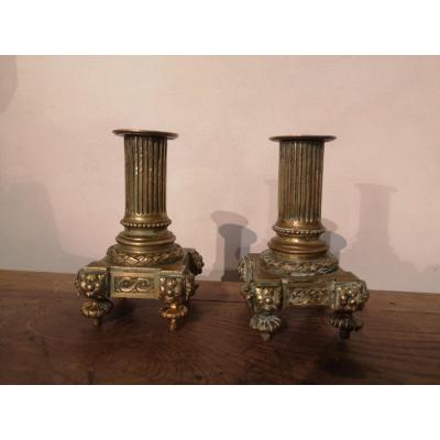 Pair Of Candlesticks-bronze- Louis XVI- XIX E S.