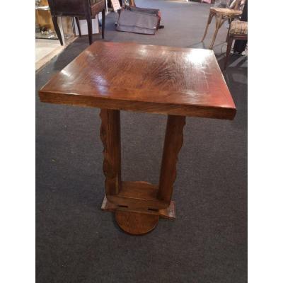 Pedestal Table - Oak - Art Deco - Around 1940.