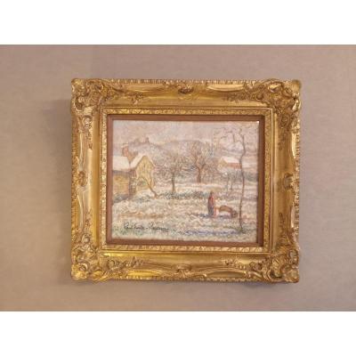 Pastel Drawing- Snowy Landscape- Paul-emile Pissaro (1884-1972)